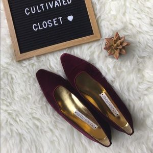 Donald J. Pliner wine colored velvet shoes 😍